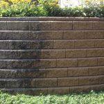 Power Washing a Brick Retaining Wall