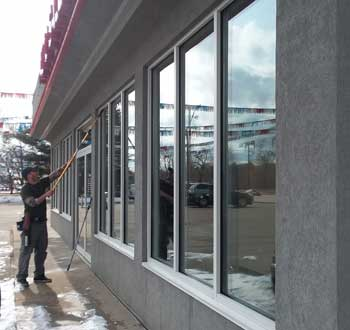 Washing Commercial Storefront Windows